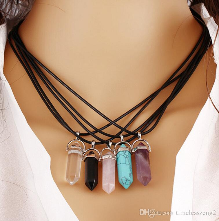 Natural Stone Hexagonal Pendant Leather Necklace