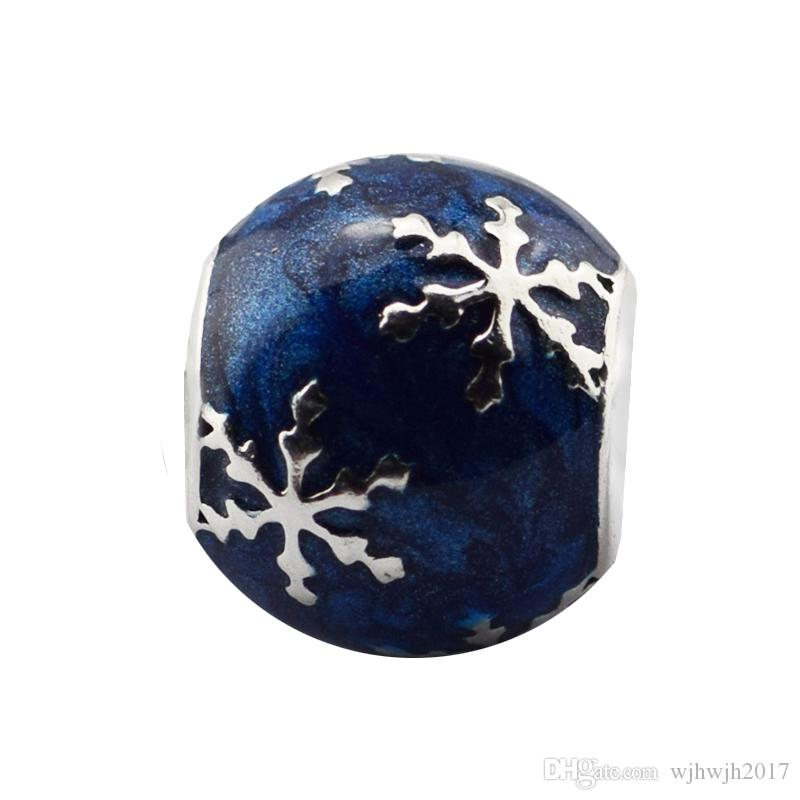 Christmas Gift Snowflakes Ball Beads 925 Sterling Silver Blue Enamel Charms Bead For DIY Brand Bracelets Fine Jewelry Making Accessories