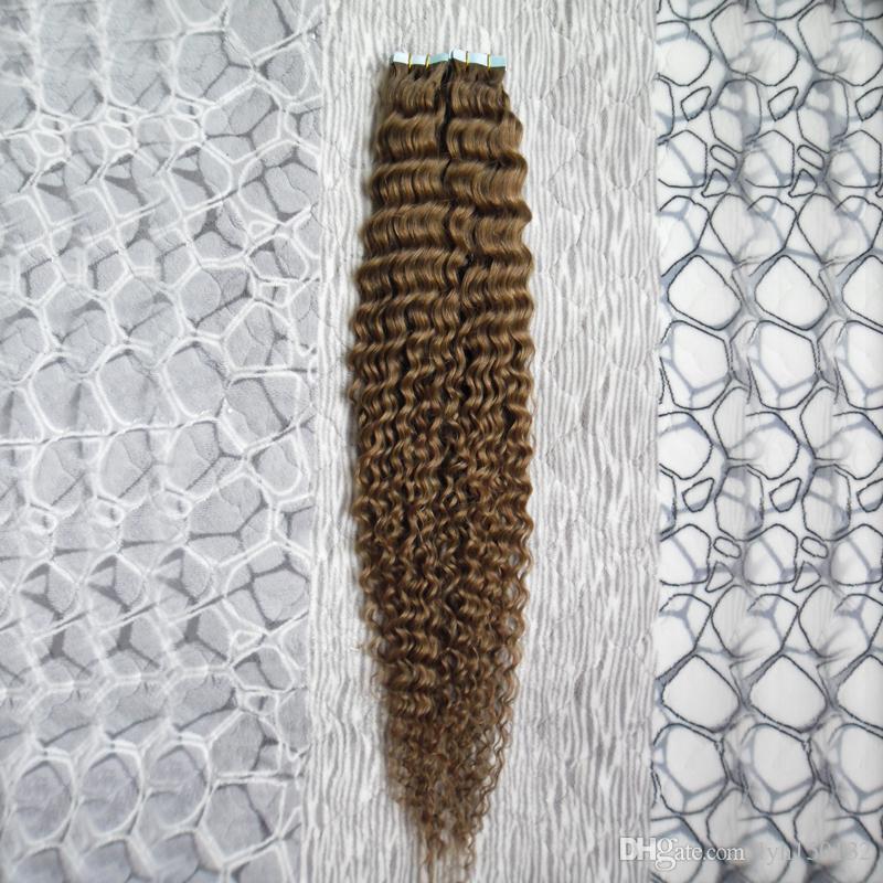 Duplo desenhado profundamente encaracolado pele de trama de pele de extensão de cabelo 100g 40 pcs fita em cabelos humanos-extensões-adesivo virgem brasileira frete grátis