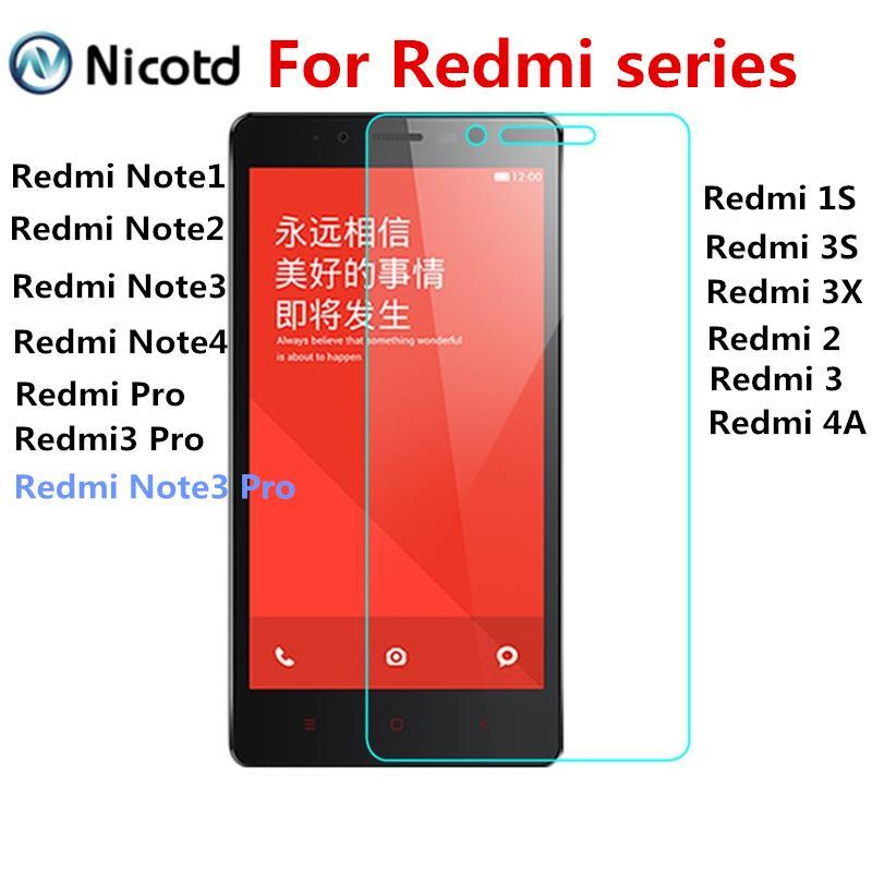 Película de vidrio templado 2.5D para Xiaomi Redmi 2 3 3S 4A 3X Hongmi para redmi Pro 1S Note 3 Note4 2 note1 Protector de pantalla