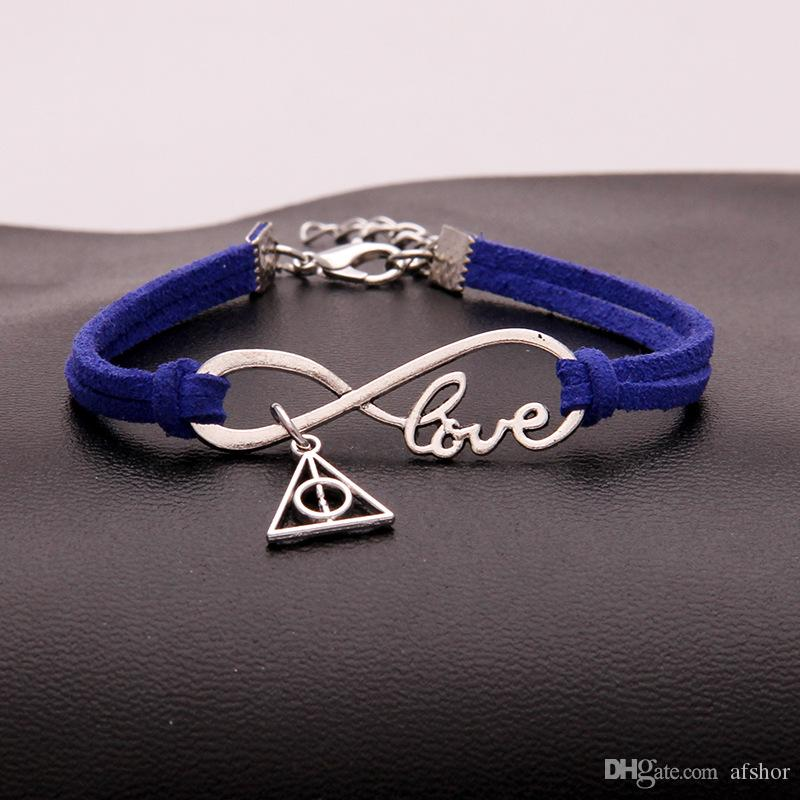 Charme Oficial de Moda de Nova baratos Infinito Love Triangle Bracelet para as Mulheres Homens Azul Escuro Couro Jóias Atacado minimalista Bangles Bijoux