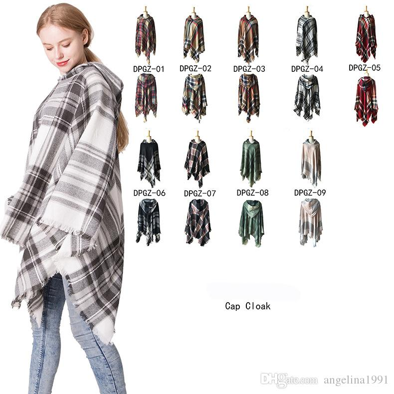 Elegant Women Hooded Tassel Poncho Fashion Plaid Shawls Scarf Female Autumn Winter Warm Keeping Pullover Wraps Pashmina Scarves