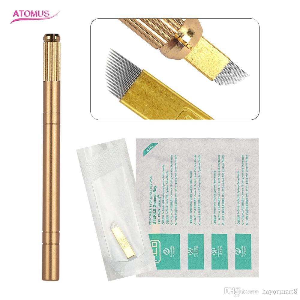 6 teile / satz Semi-permanent Gold 4 Ring Augenbrauen Make-Up Microblading Manuelle Tattoo Stifte 5 stücke Tattoo Stift Micro Blading Kits