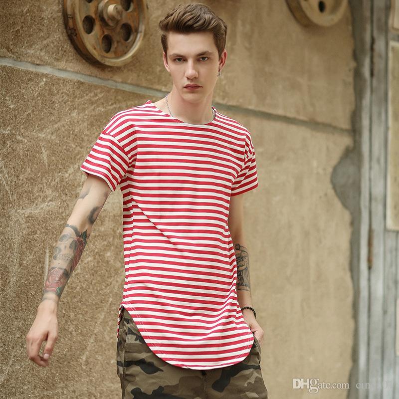 Męskie koszulki męskie w paski krzywej dno dorywczo męski hi-ulicy hip hop trójniki z krótkim rękawem