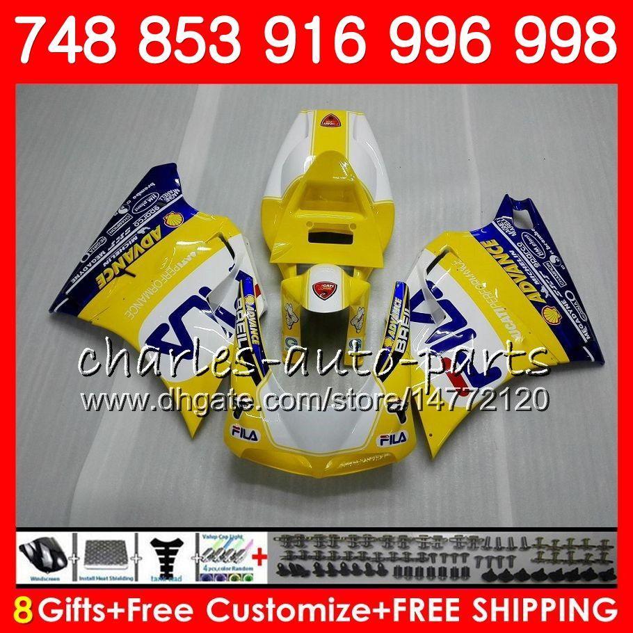 Комплект для DUCATI 748 853 916 94 95 96 97 98 99 00 01 02 104HM.5 996 998 Р 1994 1995 1996 1997 1998 1999 2000 2001 2002 желтый синий обтекатель