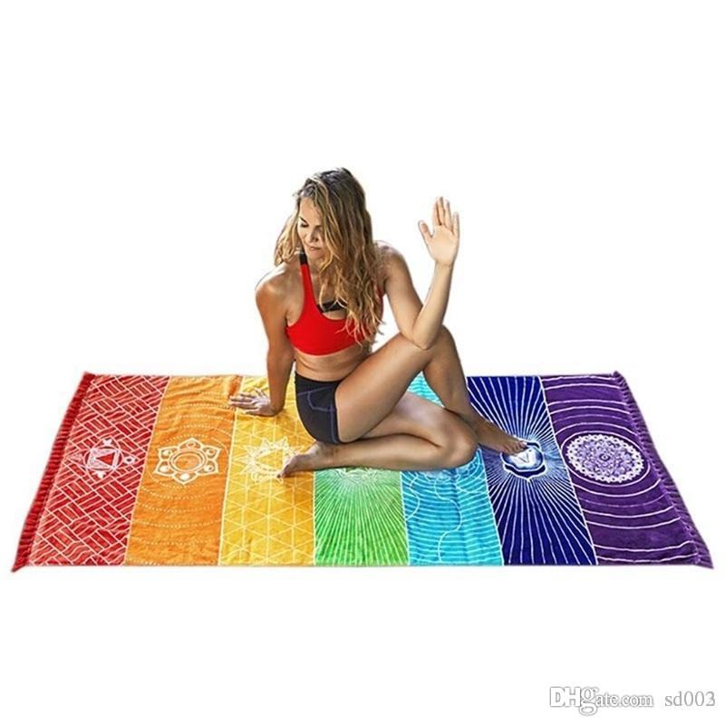 요가 비치 거실 다기능 17sj의 ZZ를 들어 만다라 보헤미아 담요 레인보우 패션 소프트 카펫 매트 줄무늬면 목욕 수건