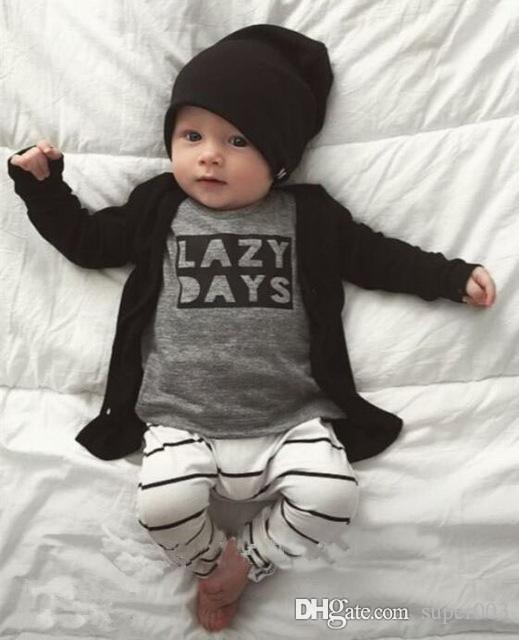 2018 Nouvel Automne bébé garçon vêtements ensemble coton unisexe T-shirt à manches longues lettres T-shirt + pantalon nouveau-né bébé fille vêtements ensemble