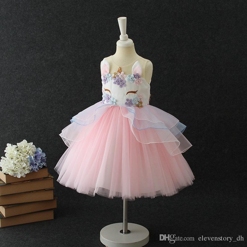 Compre 2 A 10 Años Unicornio Vestido De Verano Para Niñas Ropa De Flores Perlas Celebración Festiva Ropa De Tul De Boutique Para Niños 7aa802ds