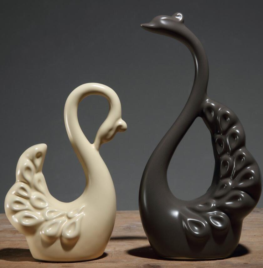 Nordic Minimalista ceramica amanti cigno artigianato arredamento casa decorazione della stanza artigianato figurine di porcellana decorazione di nozze