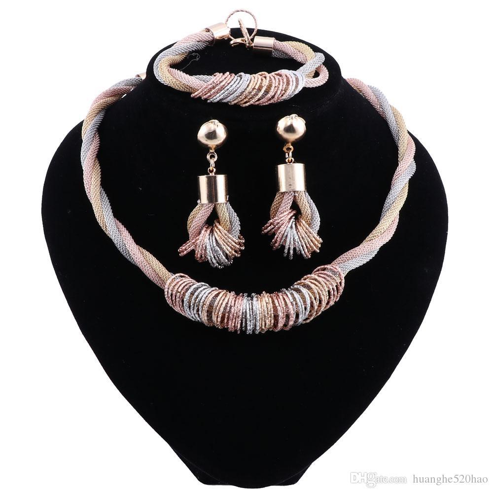 Nuevos sistemas de la joyería de lujo de Dubai joyería multicolora de la boda de Nigeria fijada para el collar de las mujeres Bisutería de la manera del traje