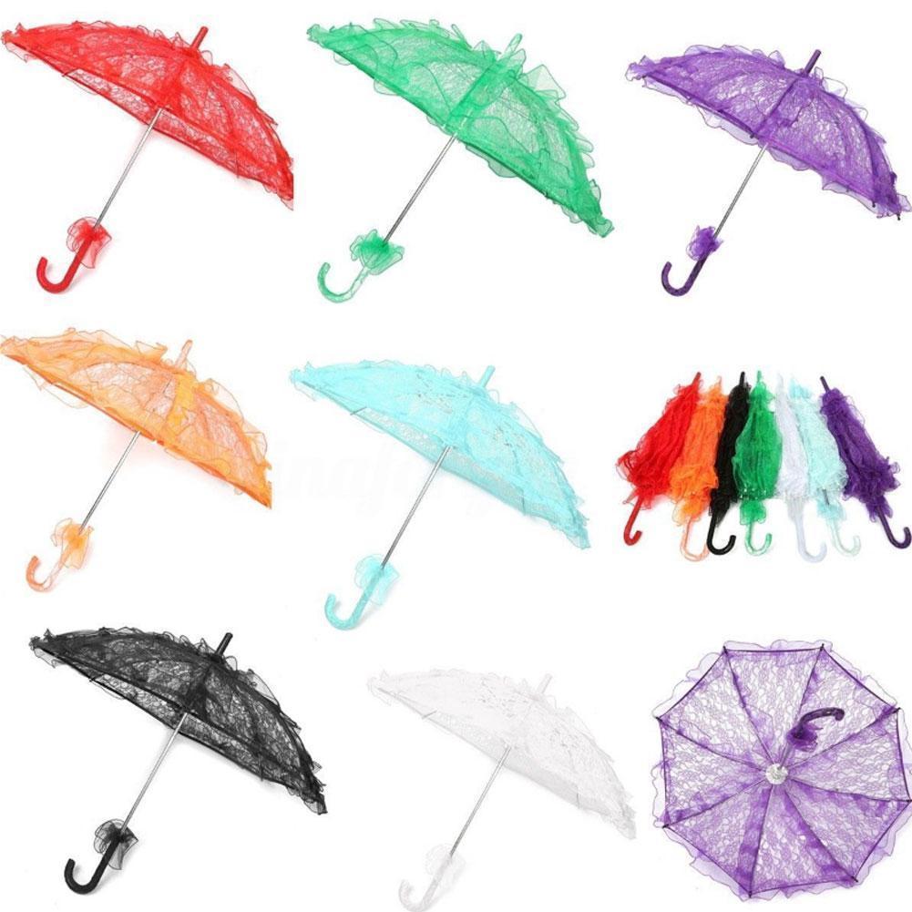 Paraguas nupcial del cordón 11colors Parasol elegante del cordón de la boda del paraguas del arte 56 * 80cm para la decoración del partido de la demostración Apoyos de la foto Sombrillas GGA1093