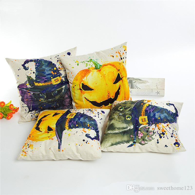 New Arrival 26 Style Halloween Poszewka na Poduszkę Pościel Poduszka Pokrywa Home Decor Sofa Throw Pillow Case Solid Poszewka