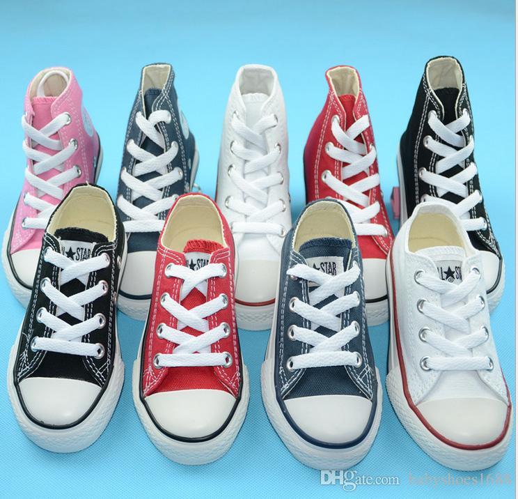Nova 2019 marca crianças sapatos de lona moda alta - baixa sapatos meninos e meninas esportes lona crianças sapatos
