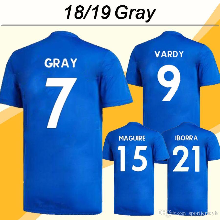 2018 19 MADDISON MAGUIRE Soccer Jerseys MORGAN VARDY OKAZAKI Home Mens Football Shirts GRAY IBOEEA Short Sleeve Uniforms