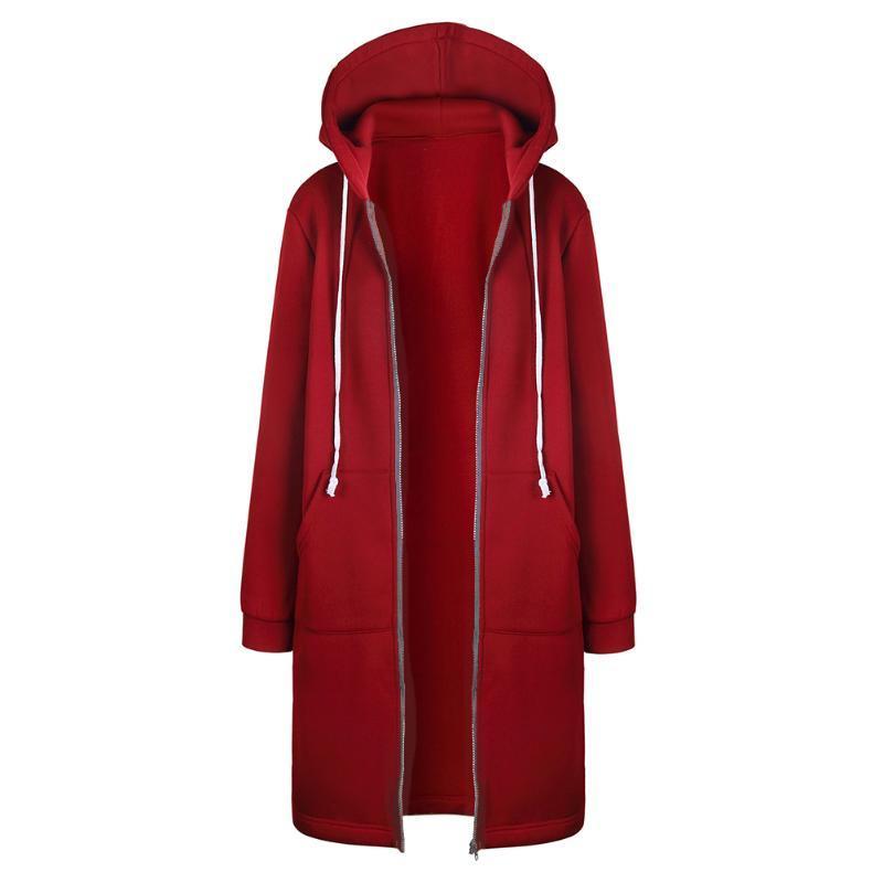 Зима теплая Zip-up длинные толстовки толстовка Женщины 2017 Осень твердые с капюшоном карман перемычка с капюшоном пальто S-XL 3 цвета