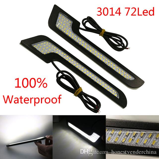 2Pcs LED DRL Daytime Running Lights Car-Styling External Lights Auto Car Driving Front Fog Vehicle Lamp With Sticker New