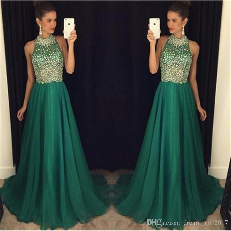 Luxury Emerald Green Prom Dresses Long 2017 High Neck Crystal Beaded Formal Women Evening Gowns Sheer A-Line Tulle Party Dress