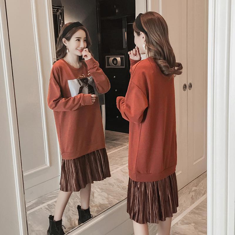 Vestidos de maternidad de la moda de invierno Autmn ropa suelta patchwork para mujeres embarazadas embarazo de primavera sudaderas ocasionales