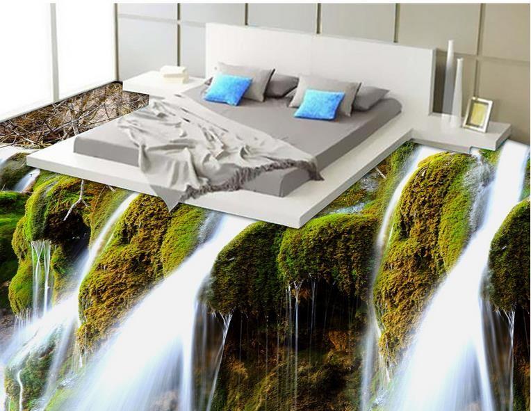 Personnalisé 3D Retour murales HD Waterfall Paysage Plancher Carrelage Peinture Chambre à coucher Salon PVC Etanche Port Personnel Papier peint Autocollant