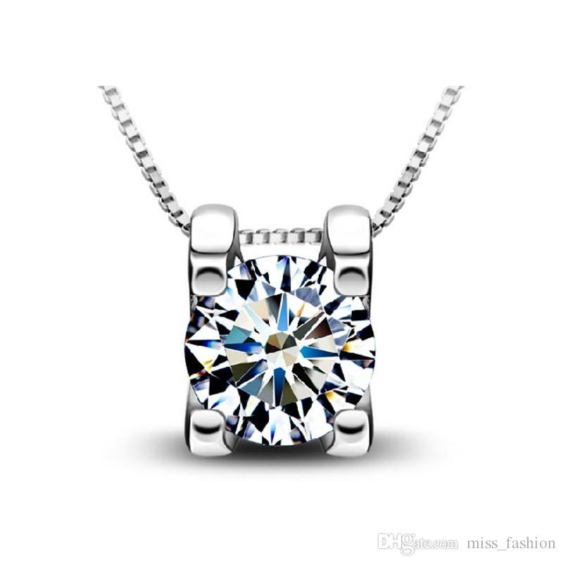 Mulher colares de prata declaração de jóias colares de cristal do vintage cubo pingente de diamante colares frete grátis moda encantos