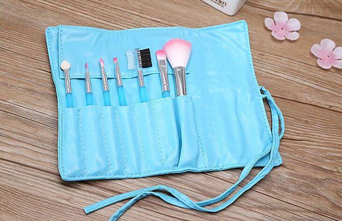 도매 고품질의 5color 메이크업 브러쉬 1Set = 7pcs 키트 아름다운 전문 메이크업 브러쉬 도구 가방 무료 배송