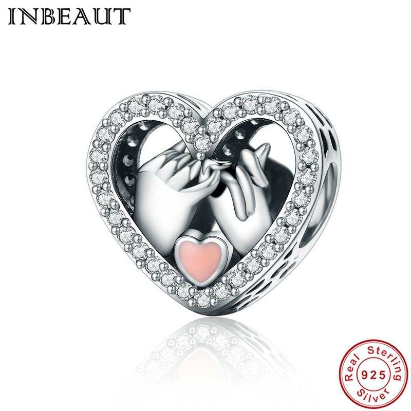 InBeaut mujeres boda pulseras 925 plata esterlina claro cz rosa amor encanto encanto ajuste pandora pulsera regalo de san valentín