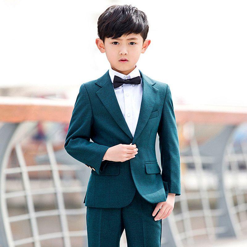 Yeni katı renk moda erkek takım elbise üç parçalı takım (ceket + pantolon + yelek) çocuk dans parti resmi elbise destek özel