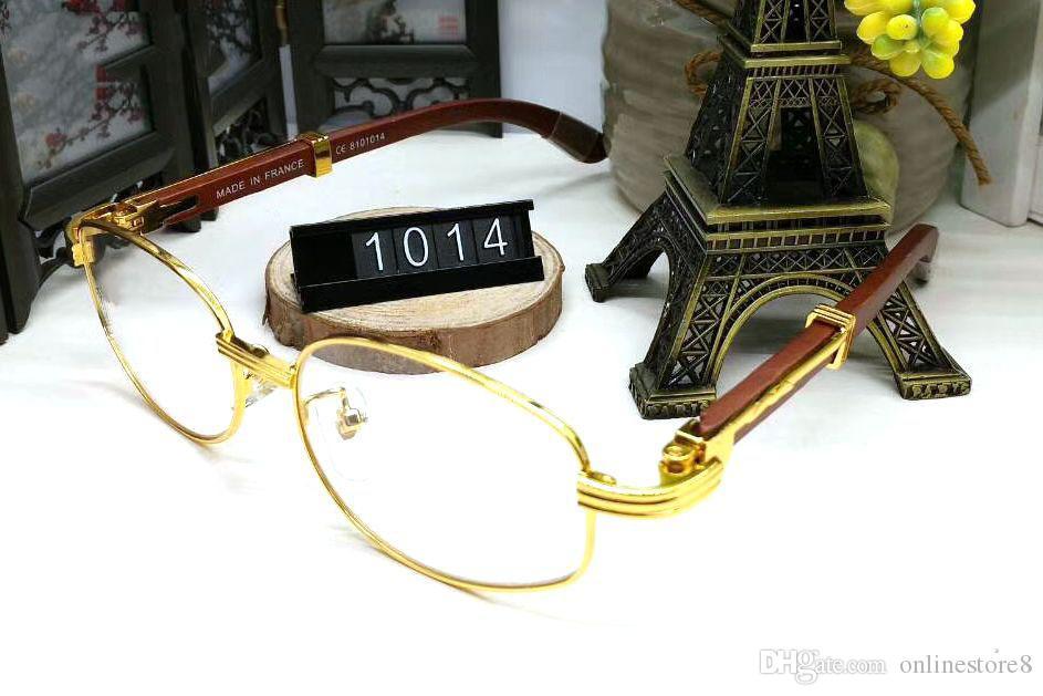 النظارات الشمسية الإطار المعدني الكامل الفاخرة الماركات للرجال النساء الرجعية العلامة التجارية مصمم النظارات إطارات النظارات البيضاوي الذهب مع ذراع خشبية مربع