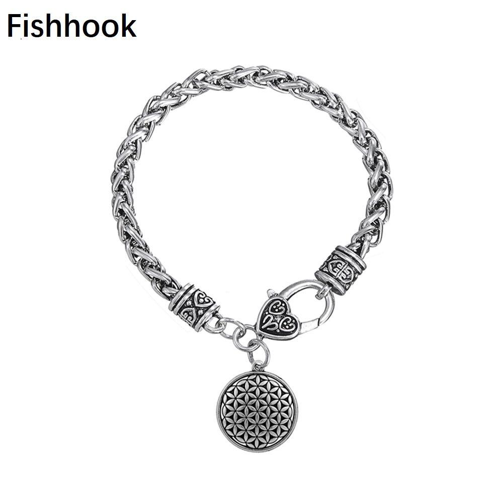 Fishhook Flower of Life Pendant Bracelets Zinc Alloy Trendy Metal Pendant Bracelets Fashion Jewelry for Women