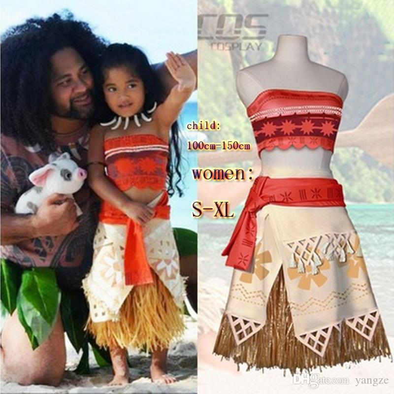 Princess Cosplay Costume Set for Polynesian Girls Princess Costume Kids Dress Movie Halloween Beach Party Costume