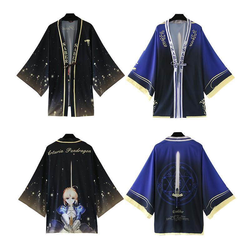 Loose Size Cloak Yukata Japan Anime Fate Stay Night Saber Bathrobe Haori Costume Coat Size Cosplay Kimono Asian One Chiffon Sxmlx