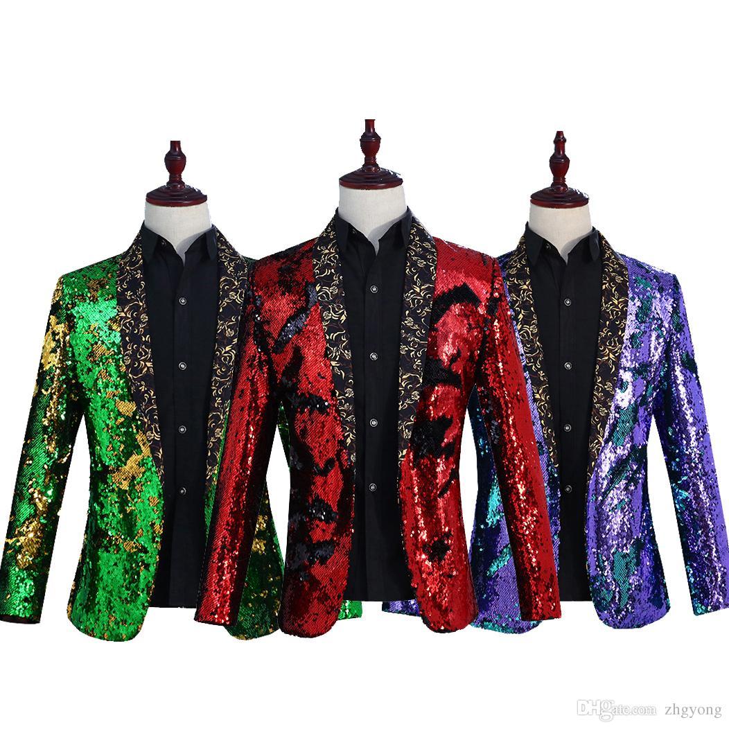 Costume haut de gamme pour Retournement Paillettes hommes Vestes 6 couleurs Mode Blazer Discothèque Bar DJ Scène de théâtre Vêtements de bal hôte Costumes Tide Vêtements