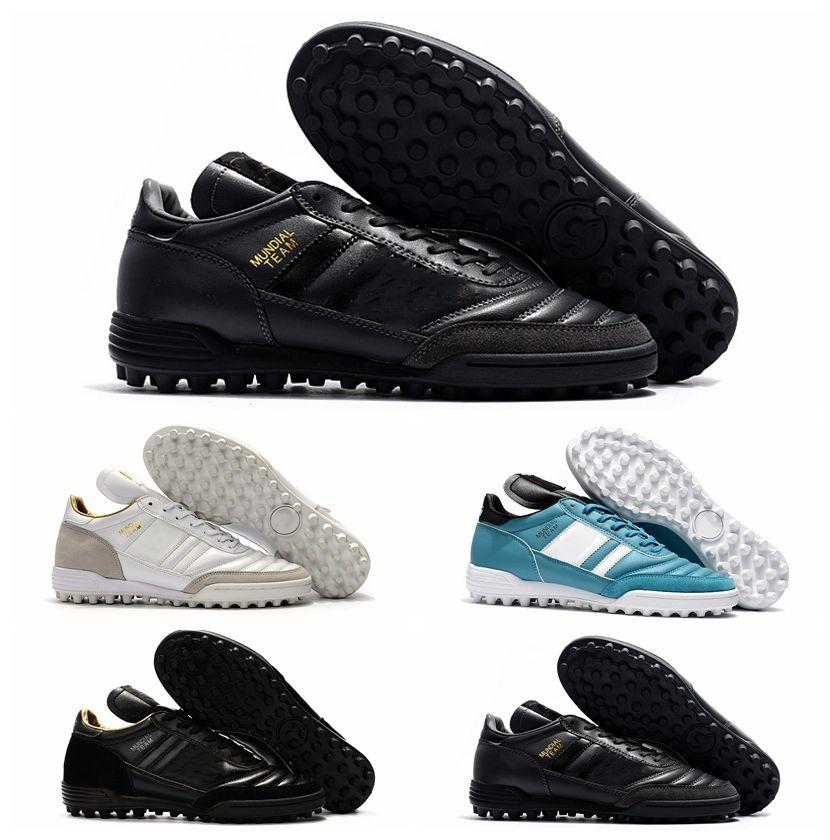 جديد مونديال فريق الحديثة الحرفية استرو tf العشب أحذية كرة القدم أحذية رخيصة أحذية كرة القدم للرجال المرابط للرجال 2017 أسود أبيض