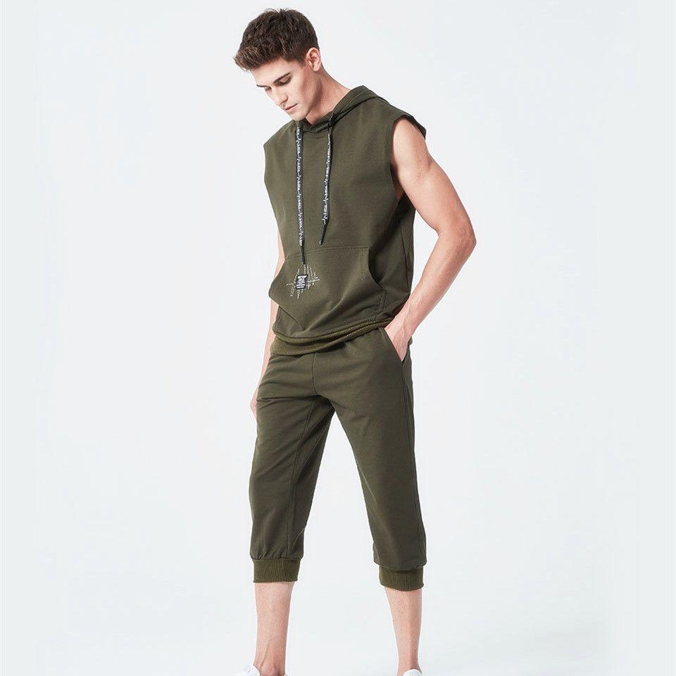 Sleeveless Men's Hoodie Tracksuit Men 2018 Summer Casual Bodybuilding Set Suit Sportswear Sweatshirt Pants Fitness Track Suit