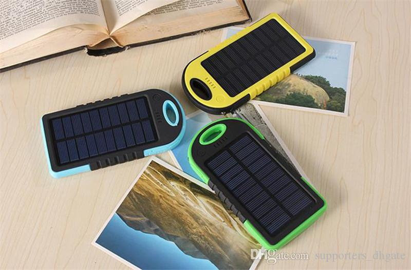 Drop Solar power Charger 5000mAh Battery solar panel waterproof shockproof Dustproof portable power bank for Cell phone Laptop Camera USB