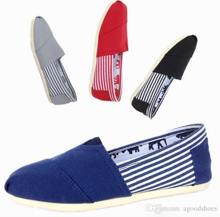 GIFT gratuit chaud neuf femmes hommes toile chaussures appartements mocassins casual unique chaussure solide baskets conduite chaussures unisexe tom espadrille
