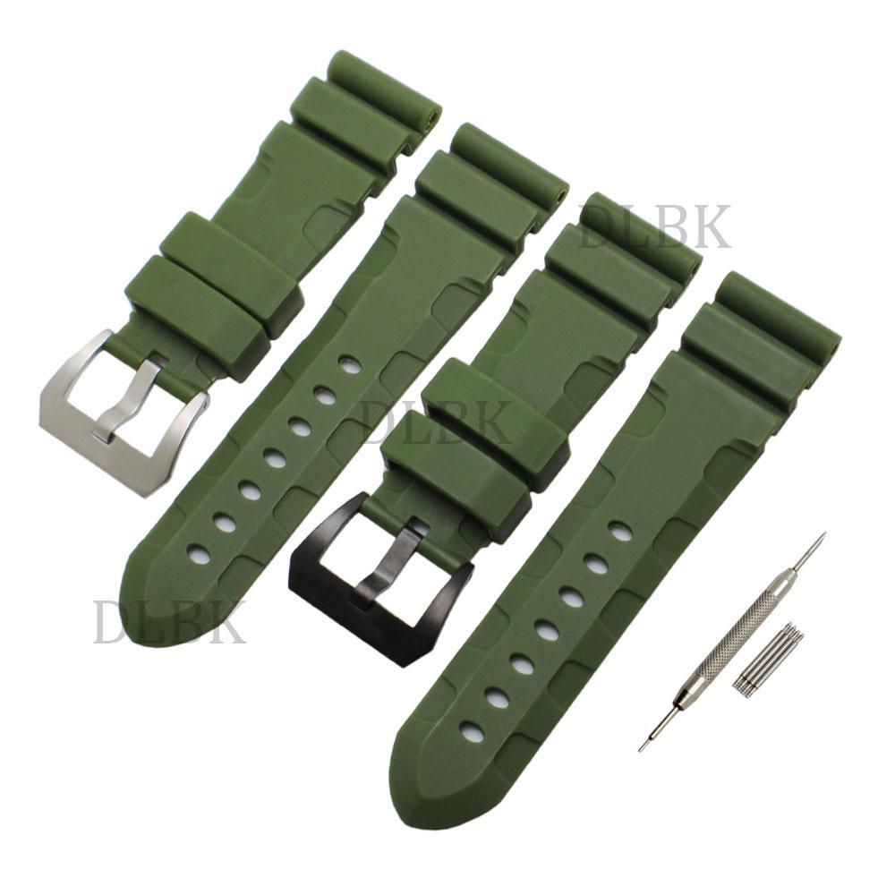 24mm 26mm (fibbia 22mm) Uomo Verde Diving Silicone cinturino cinturino cinturino sportivo Bracciale cinturino fibbia in acciaio inox per Panerai LUMINOR