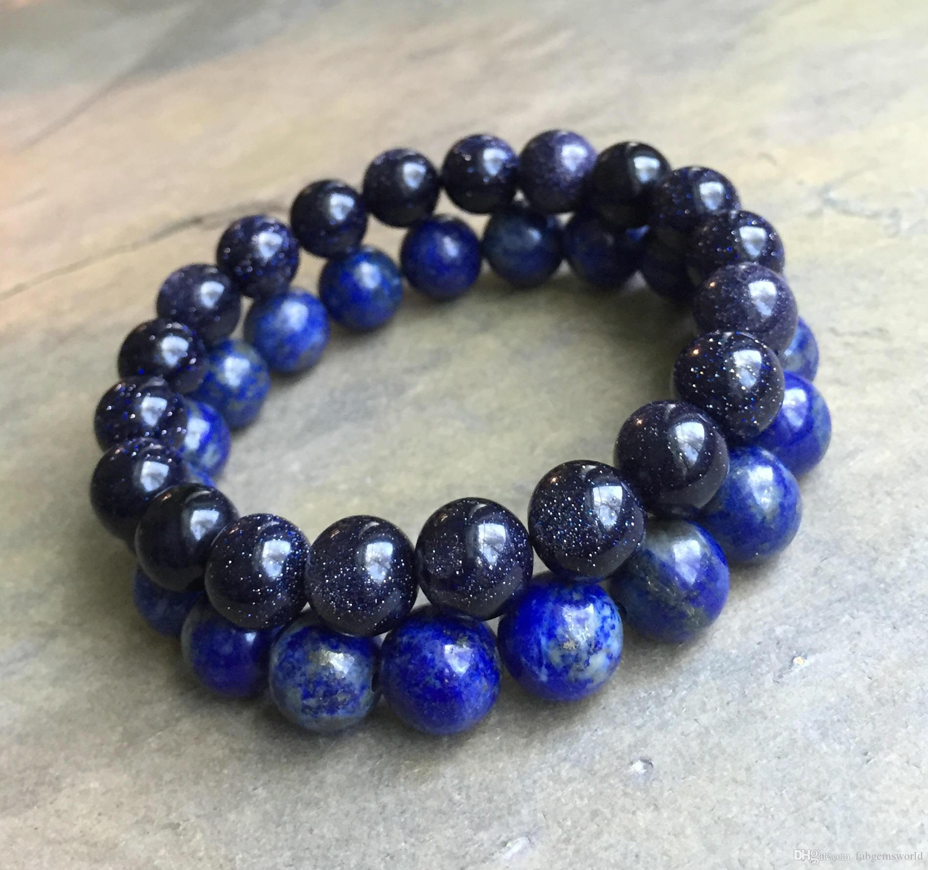 LAPIS-LAZULI bracelet quality AA natural stone bracelet elastic bracelet round beaded bracelet multi sizes semi precious stone
