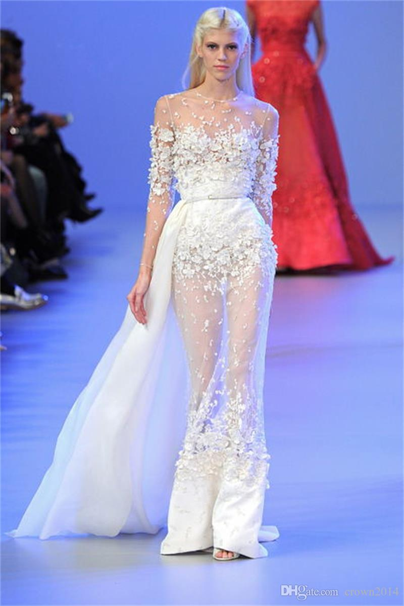 2019 Sexy Elie Saab Evening Gowns Sheath Long Sleeves Lace Applique See Through Sheer Neck Long Formal Prom Dresses Party With Remove Skirt
