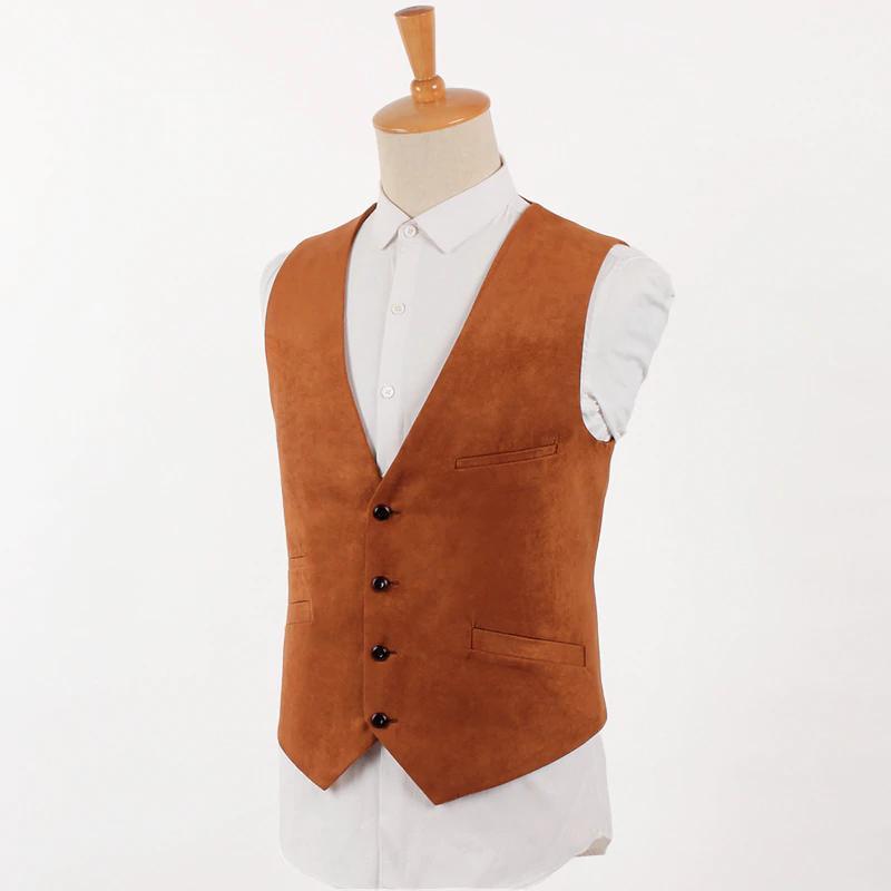 갈색 스웨이드 조끼 남자 빈티지 정장 조끼 영국 스타일 자켓 남성 슬림 피트 싱글 브레스트 가죽 조끼