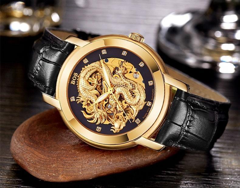 ANGELA BOS Dragão Chinês 3D Escultura Esqueleto de Ouro Relógio Mecânico Automático Mens Relógio de Luxo Homens Famosa Marca de Relógios de Pulso