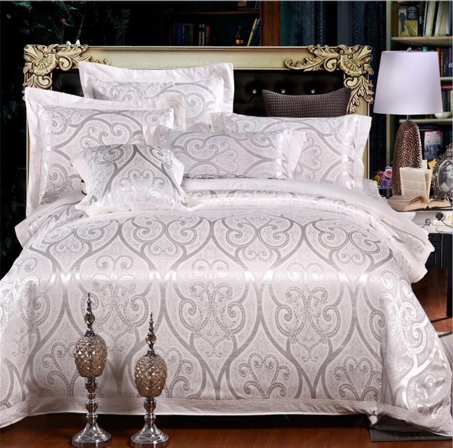 Jacquard branco quilt cover lençol fronhas bordado conjunto de cama king luxo 4 pcs casamento roupa de cama conjunto de cama de seda / algodão