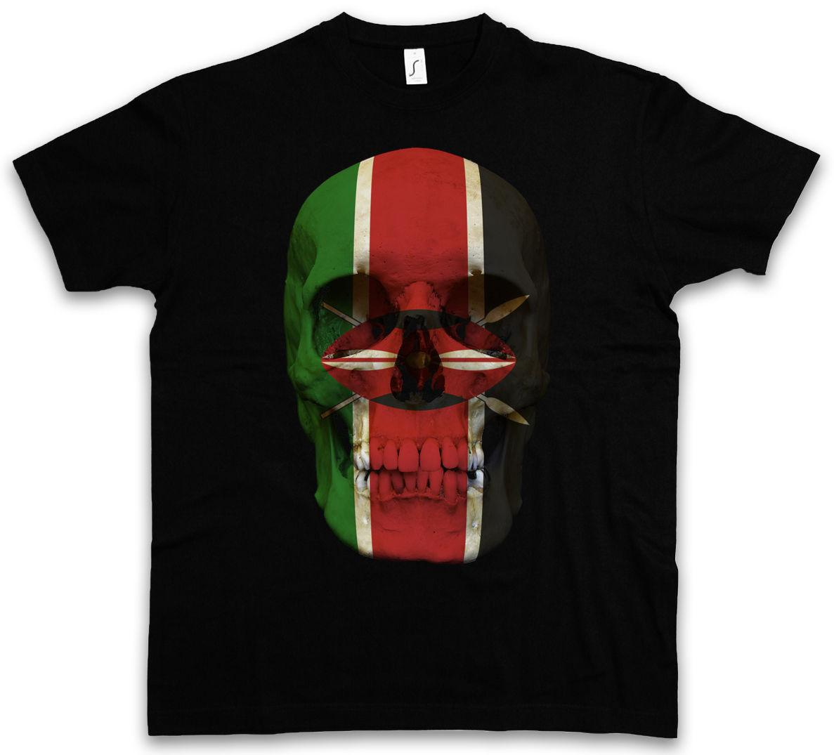 KLASIK KENYA KAFATASı BAYRAĞı T-SHIRT-Biker MC Banner Gömlek Boyutları S-5XL