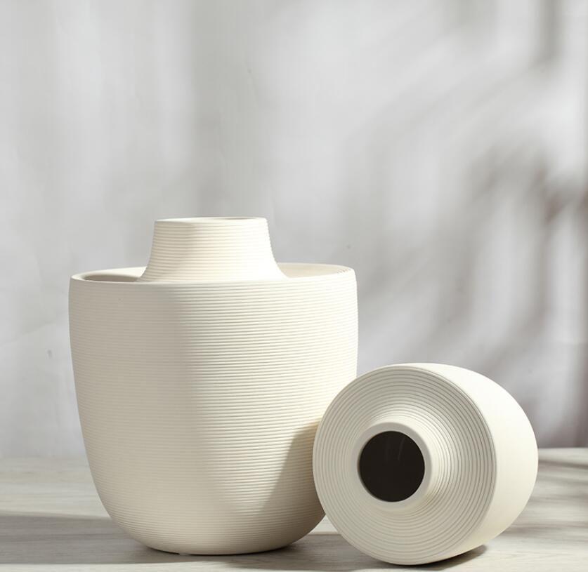 bianco bocca piccola ceramica creativo contratto fiore vaso home decor artigianato decorazione della stanza artigianato figurine di porcellana regali