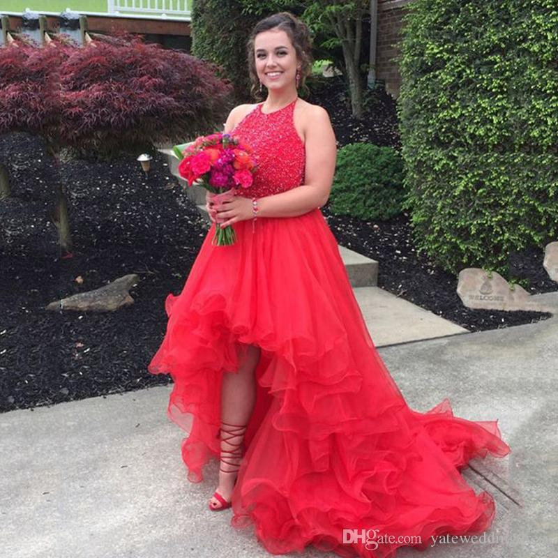 Red Luxury Prom Dresses High Low Tiered Ruffle Evening Dresses With Lace Applique Beaded Sweep Train Custom Made Vestidos De Noiva