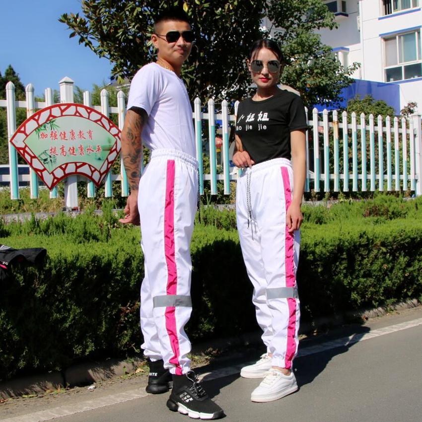 Couple Style Pantalon Réfléchissant Hommes Pantalon De Jogging Sportswear Vintage Pantalons Hip Hop Casual Femmes Pantalons De Survêtement De Mode Haren Pantalon
