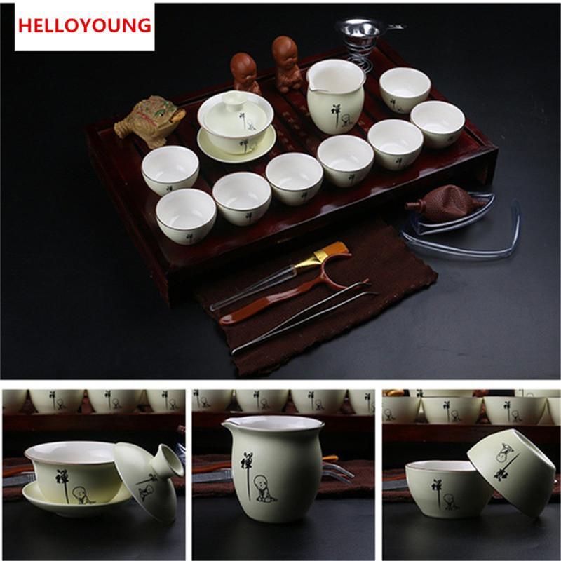 Venda quente chinês Kung Fu Tea Set Copos roxo argila cerâmica incluem Tea Pot Cup, madeira natural Terrina Infuser Tea Tray Chahai