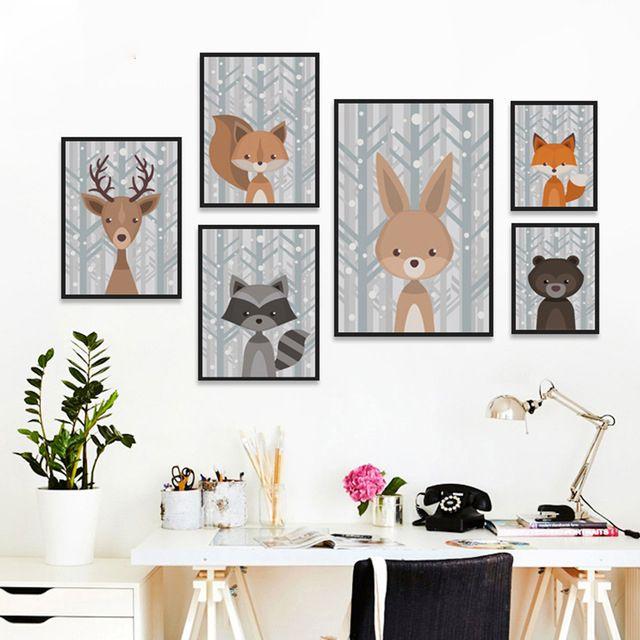 Sevimli Hayvan Karikatür A4 Tuval Boyama Sanatı Baskı Posteri Resim Duvar Resimleri Çocuk Bebek Odası Duvar Dekorasyonu