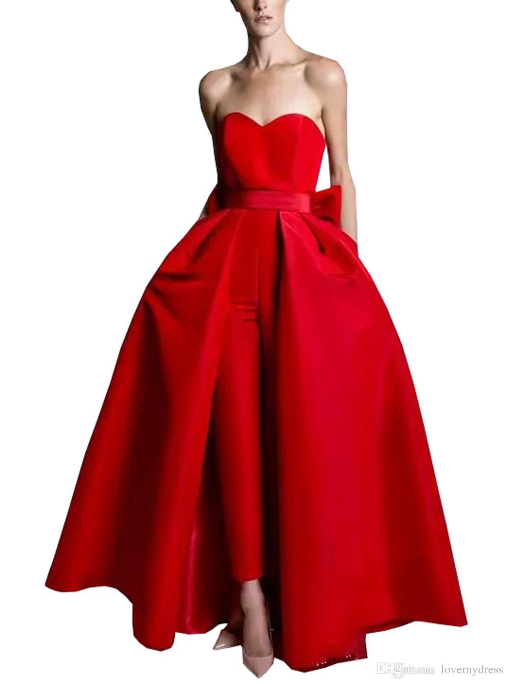 Mulheres Jumpsuit Vestidos de Noite Plus Size 2021 Catin Bow Strapless Skirt Destacável Pantsuit Vestido Prom Vestidos formais abertos de volta