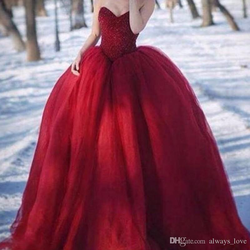Burgundy Wine Red Evening Dress Arabic Sweetheart Tulle Women Wear Prom Party Dress Formal Event Gown Plus Size lange avondjurken
